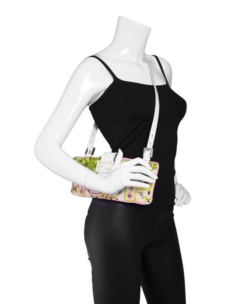 Fendi White & Green Beaded Baguette Bag  4