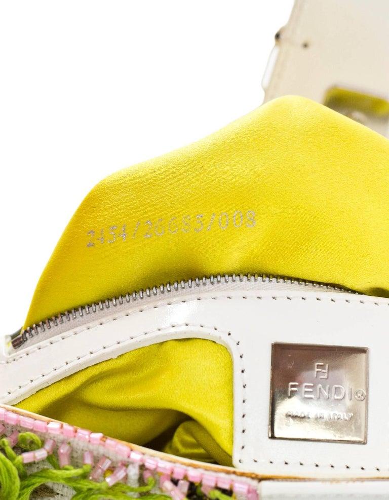 Fendi White & Green Beaded Baguette Bag  3