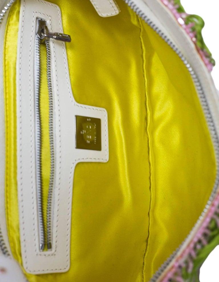 Fendi White & Green Beaded Baguette Bag  1