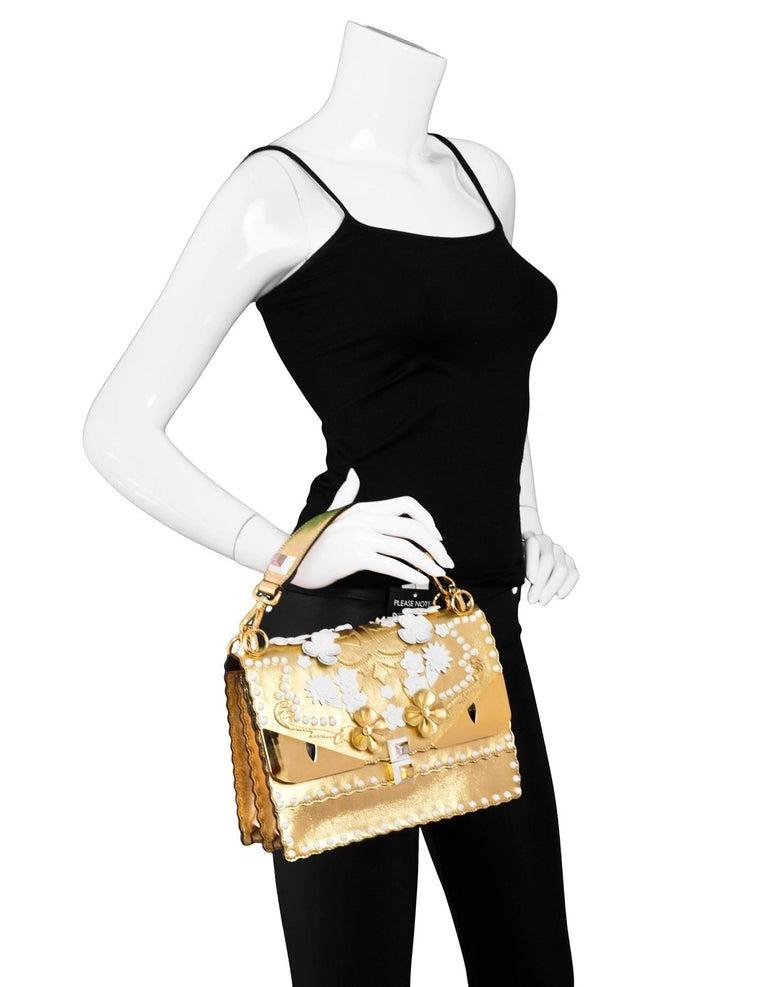 Beige Fendi 2017 Gold & White Kan I Floral Monster Satchel Bag rt. $5,950 For Sale