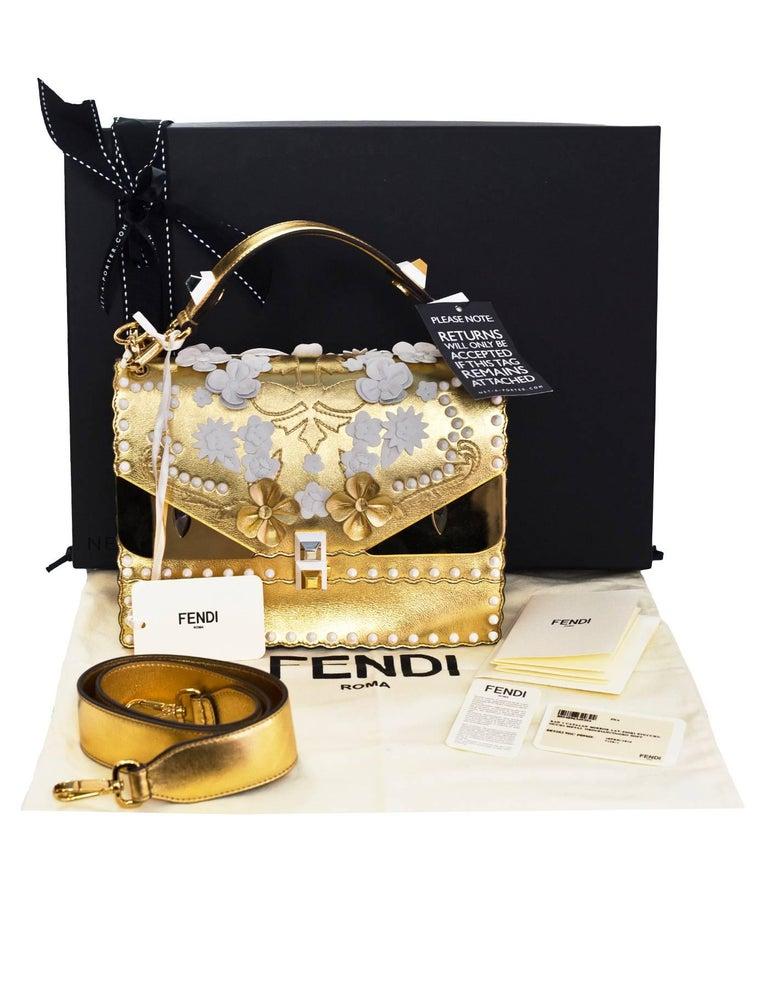 Fendi 2017 Gold & White Kan I Floral Monster Satchel Bag rt. $5,950 For Sale 5