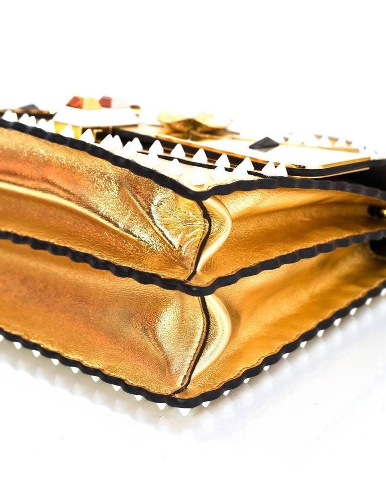 Fendi 2017 Gold & White Kan I Floral Monster Satchel Bag rt. $5,950 For Sale 1