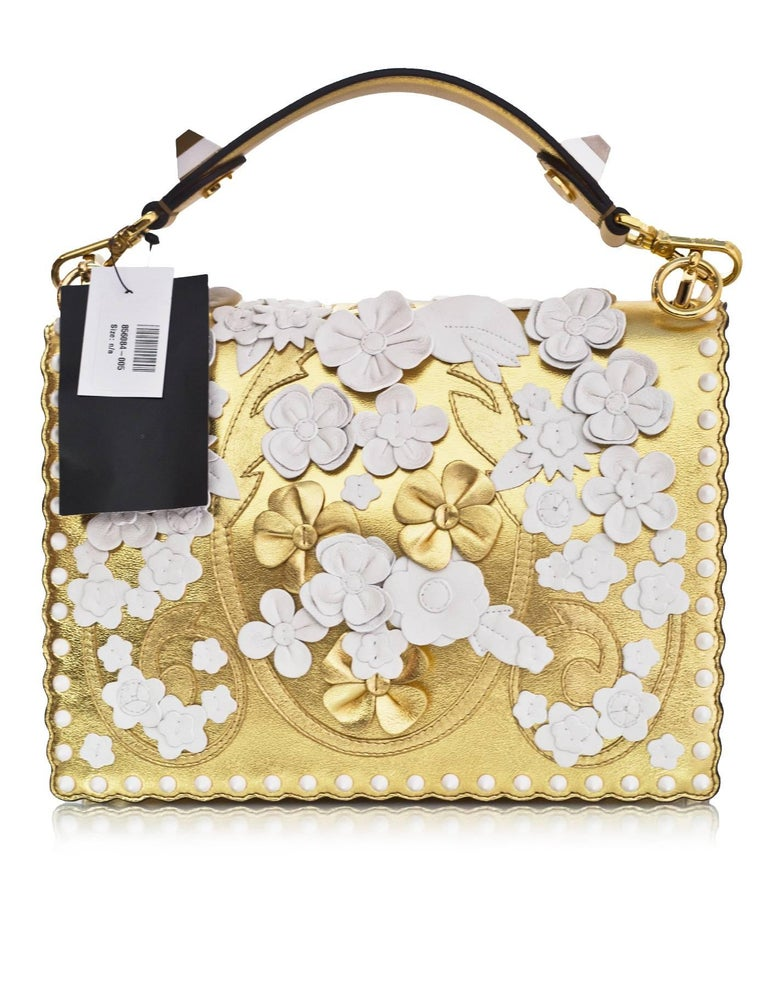 Fendi 2017 Gold & White Kan I Floral Monster Satchel Bag rt. $5,950 In Excellent Condition For Sale In New York, NY