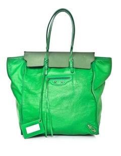 Balenciaga Green Leather Papier Ledger Tote