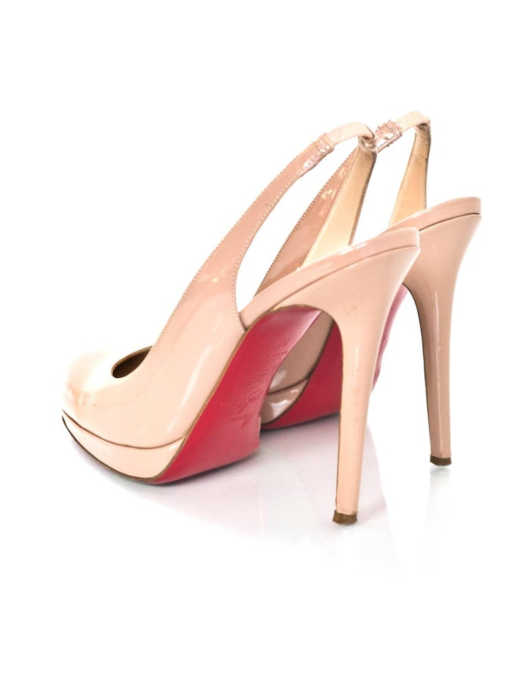 Christian Louboutin Nude Patent Slingback Pumps Sz 38 In Excellent Condition For Sale In New York, NY