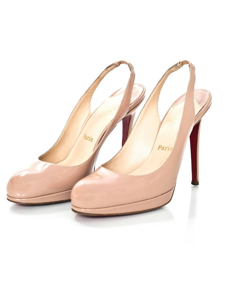 Christian Louboutin Nude Patent Slingback Pumps Sz 38  Made In: Italy Color: Nude Materials: Patent leather Closure/Opening: Slingback ankle strap Sole Stamp: Christian Louboutin Made in Italy 38 Overall Condition: Excellent pre-owned condition with