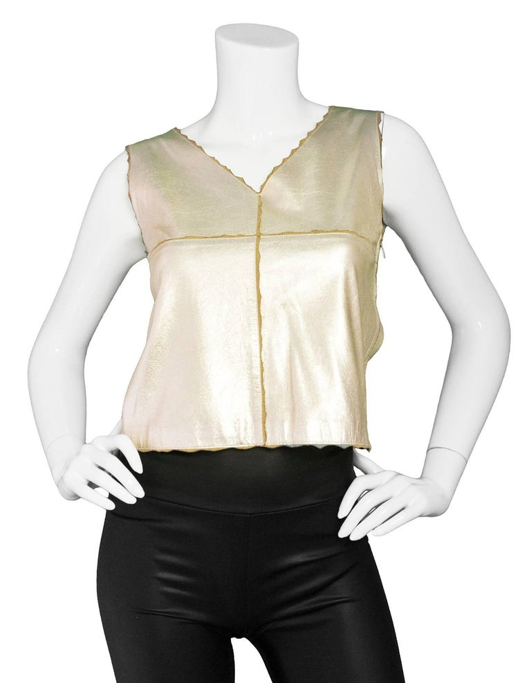 Chanel Metallic Gold Leather Shell Top sz FR36 2