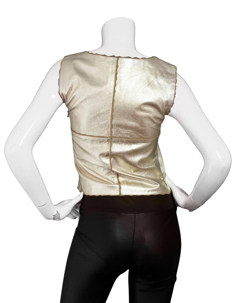 Chanel Metallic Gold Leather Shell Top sz FR36 3
