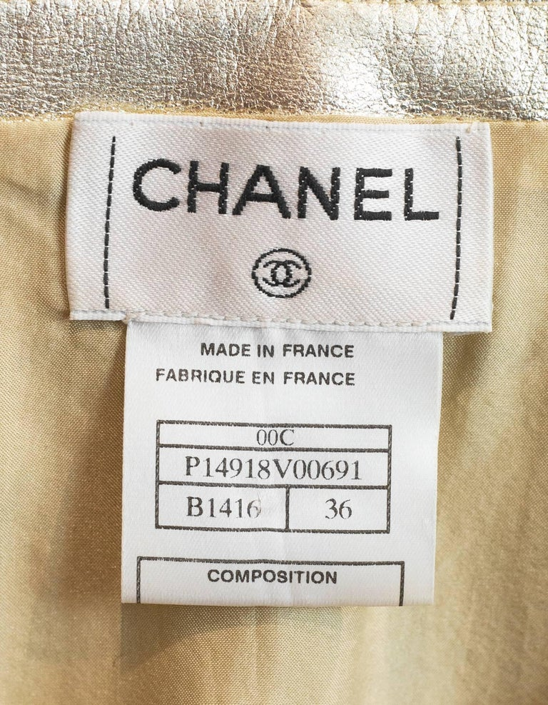 Chanel Metallic Gold Leather Shell Top sz FR36 5