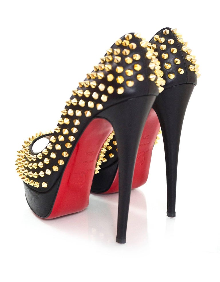 Women's Christian Louboutin Black & Gold Lady Peep Spikes 150 Pumps Sz 38.5 For Sale