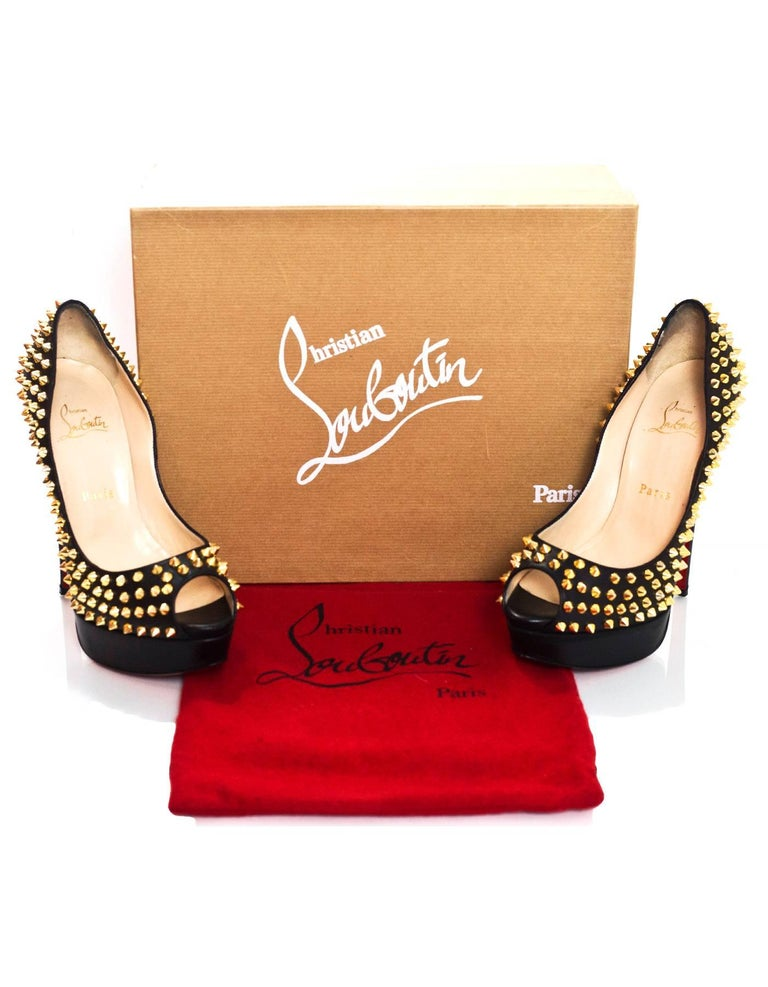 Christian Louboutin Black & Gold Lady Peep Spikes 150 Pumps Sz 38.5 For Sale 2