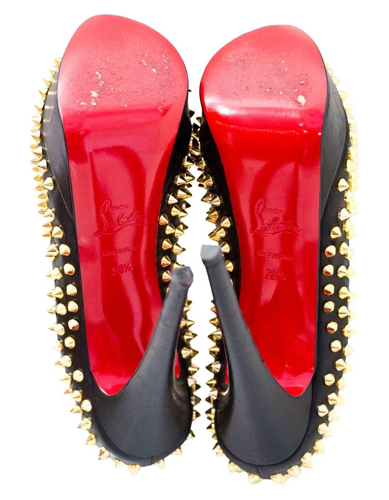 Christian Louboutin Black & Gold Lady Peep Spikes 150 Pumps Sz 38.5 For Sale 1