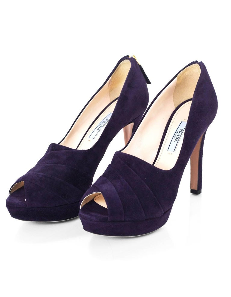 ddbeff72a Prada Dark Purple Suede Pumps Sz 38.5 NEW Features zipper detail at back of  heel Made