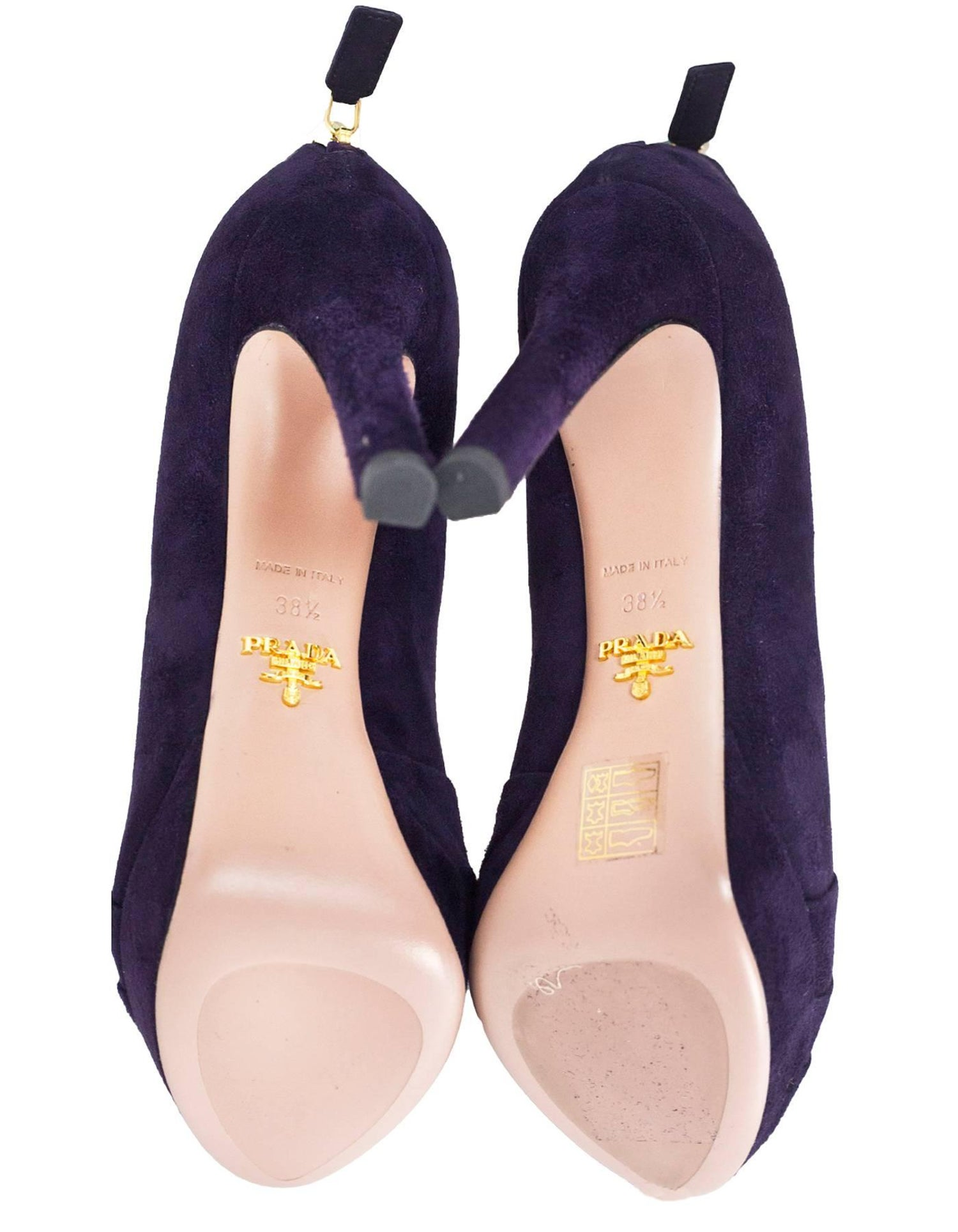 dc75b0aad Prada Dark Purple Suede Pumps Sz 38.5 NEW For Sale at 1stdibs
