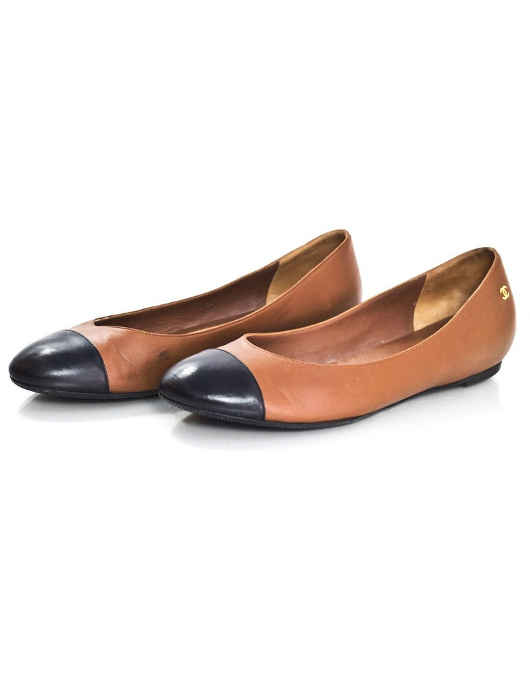 Chanel Brown And Black Cap Toe Flats Sz 41 For Sale At 1stdibs