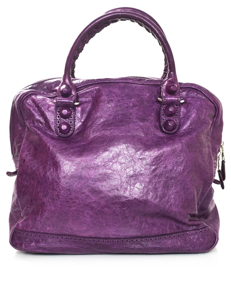 f48a5f86bb55 Balenciaga Purple Agneau Lambskin Covered Giant Brogues Office Bag Features purple  leather covered grommets Made In