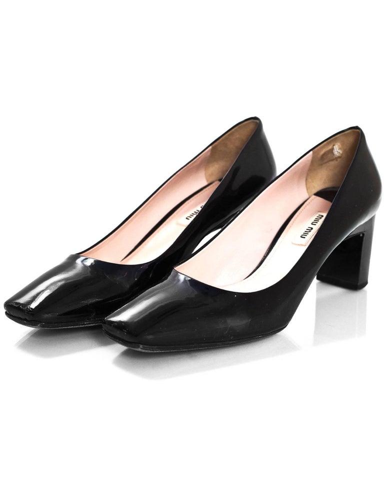 Miu Miu Black Patent Pumps with Crystal Heels Sz 39.5 Made In  Italy Color  58125a8f2e29