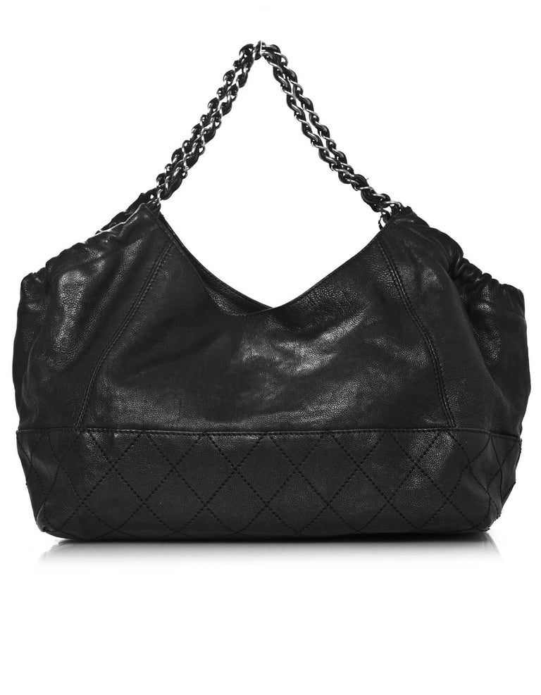 02451a708576 Chanel Black Leather Petit Coco's Cabas Tote Bag In Excellent Condition For  Sale In New York