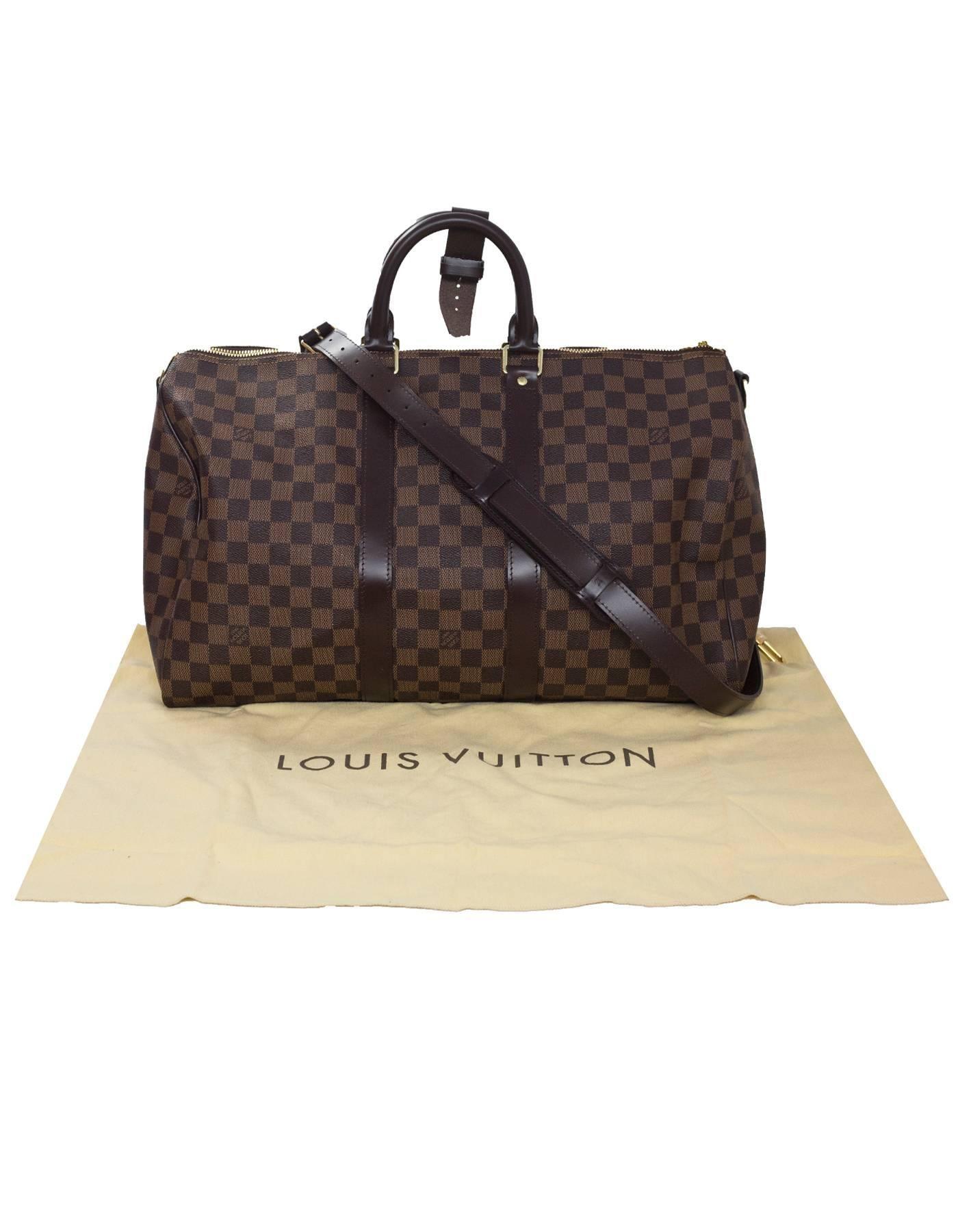 e7f4b70e4734e Louis Vuitton Brown Damier Keepall 45 Bandouliere with DB