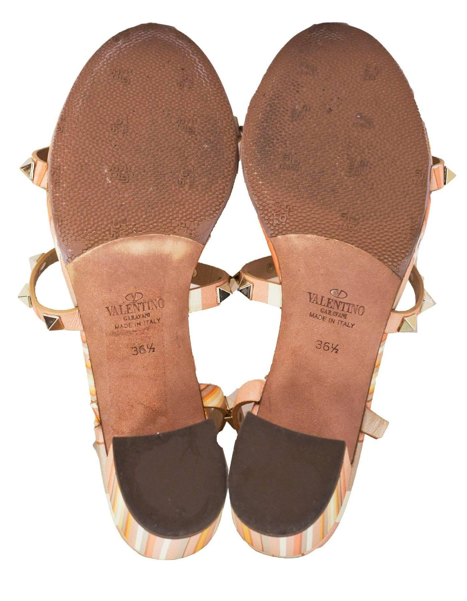f69557fba5 Valentino Orange Rockstud Navajo Print 60mm Caged Sandals Sz 36.5 For Sale  at 1stdibs