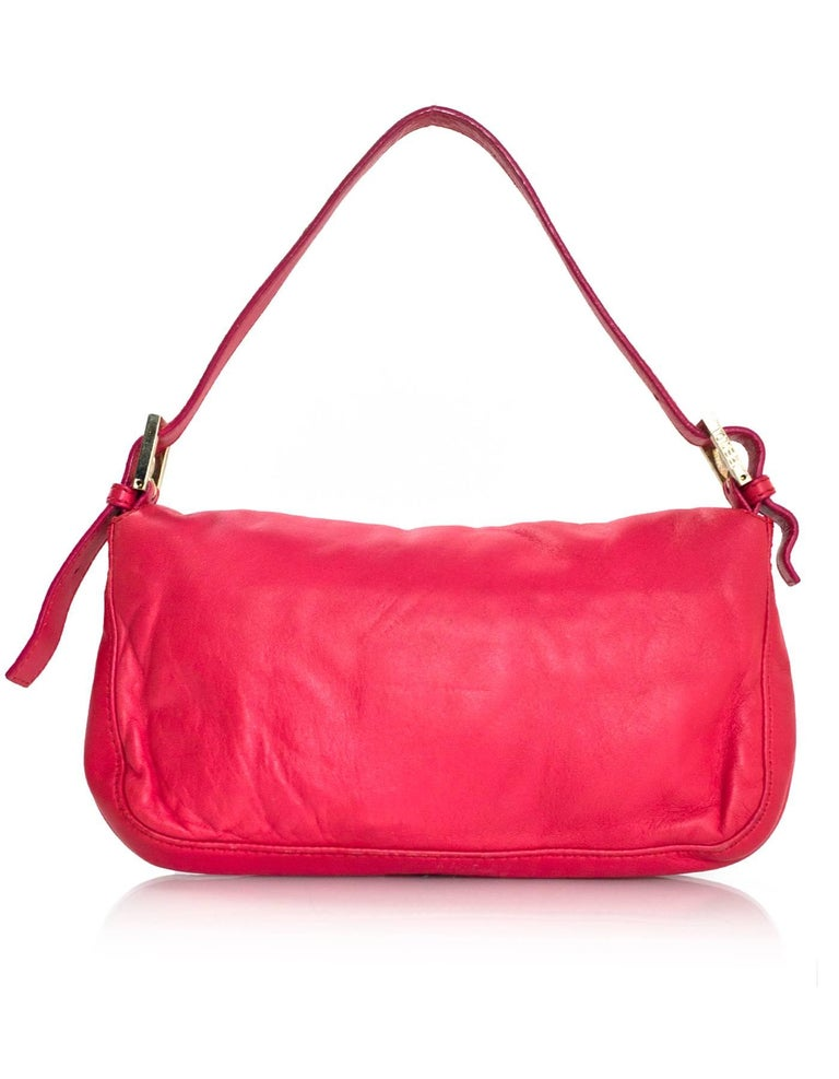 Fendi Pink Leather Baguette Bag In Excellent Condition In New York, NY