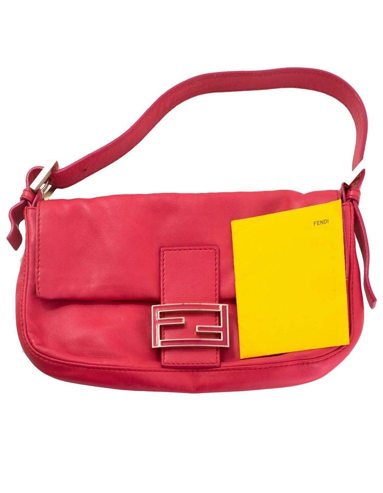 Fendi Pink Leather Baguette Bag 6