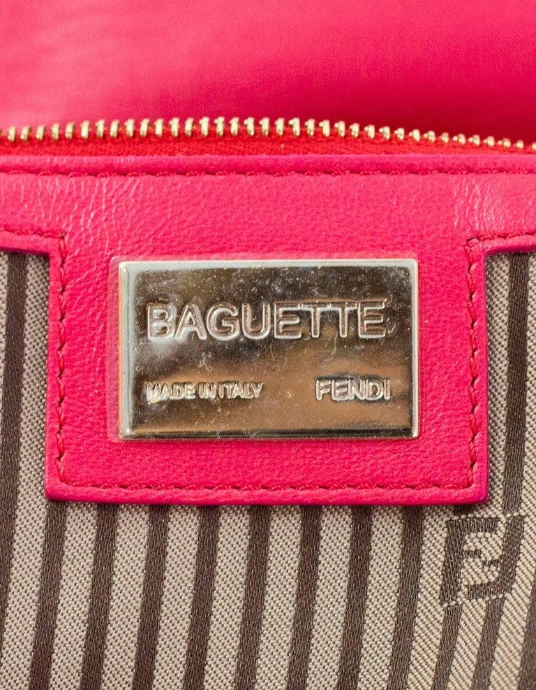 Fendi Pink Leather Baguette Bag 4