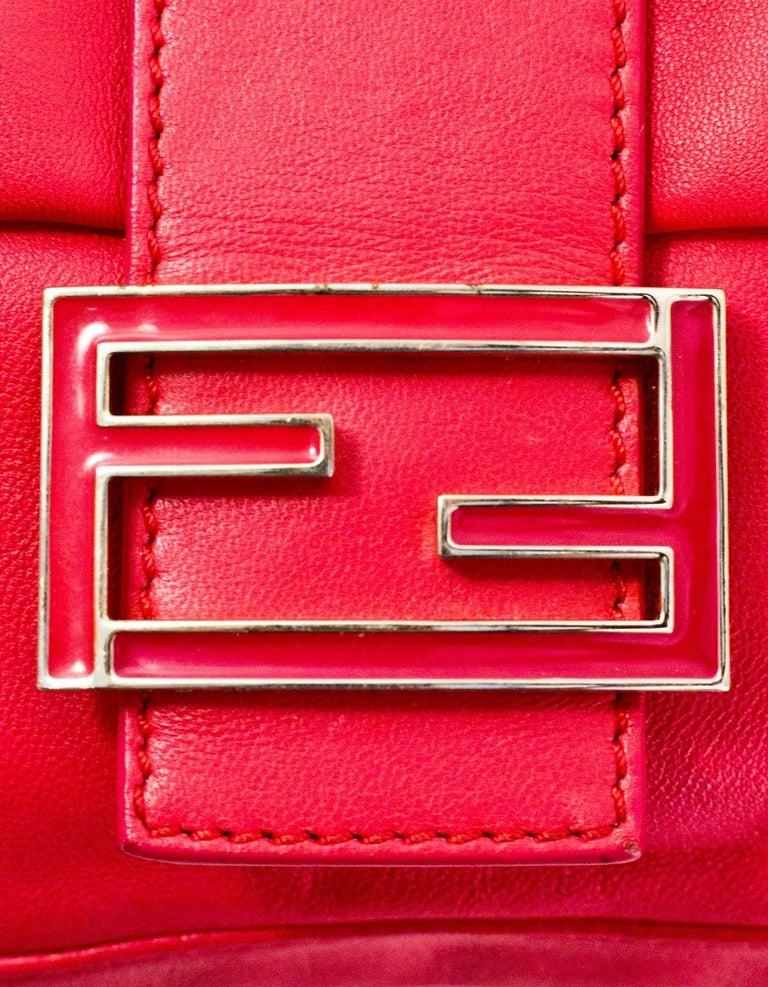 Fendi Pink Leather Baguette Bag 3