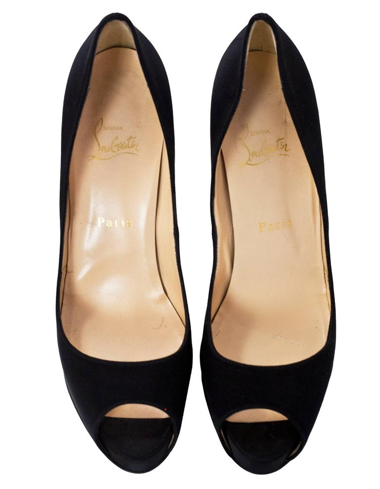 0a9f6e7581ac Christian Louboutin Black Satin Very Prive 120 Peep-Toe Pumps Sz 40 In  Excellent Condition
