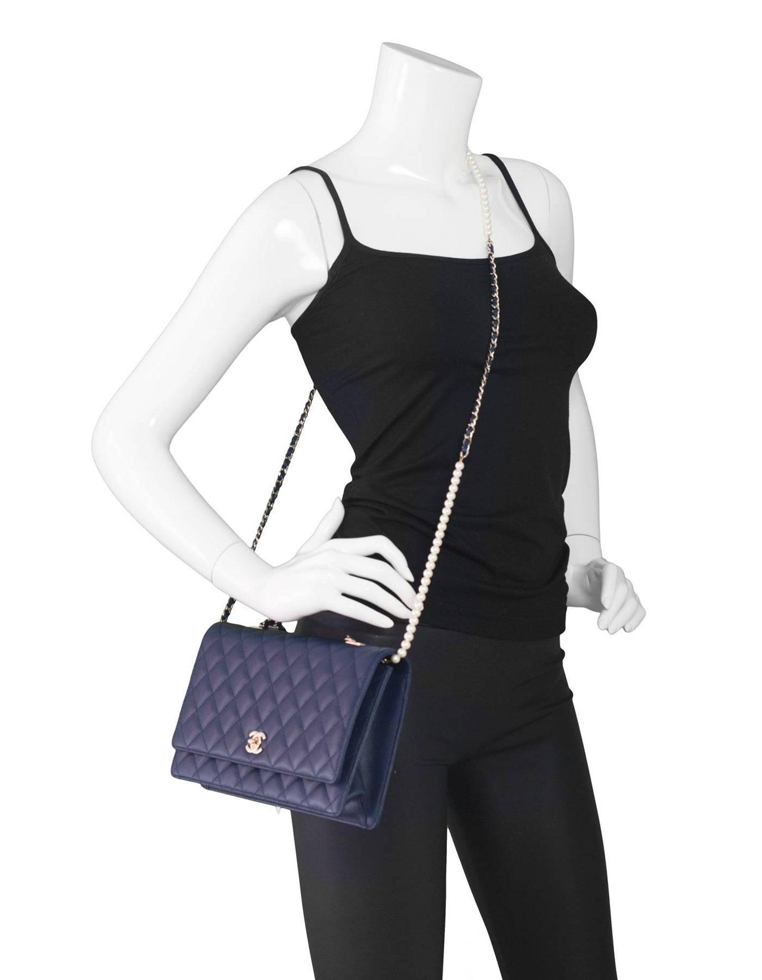 4d3709c8af8c46 Chanel '16 Navy Lambskin Leather Large Fantasy Pearls Crossbody Flap Bag at  1stdibs