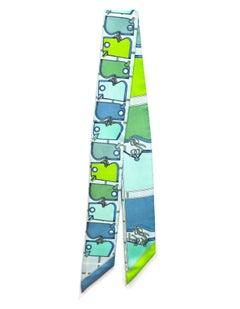 Hermes Vert Fluo, Ciel, Vert d'Eau Camails Silk Twilly Scarf with Box
