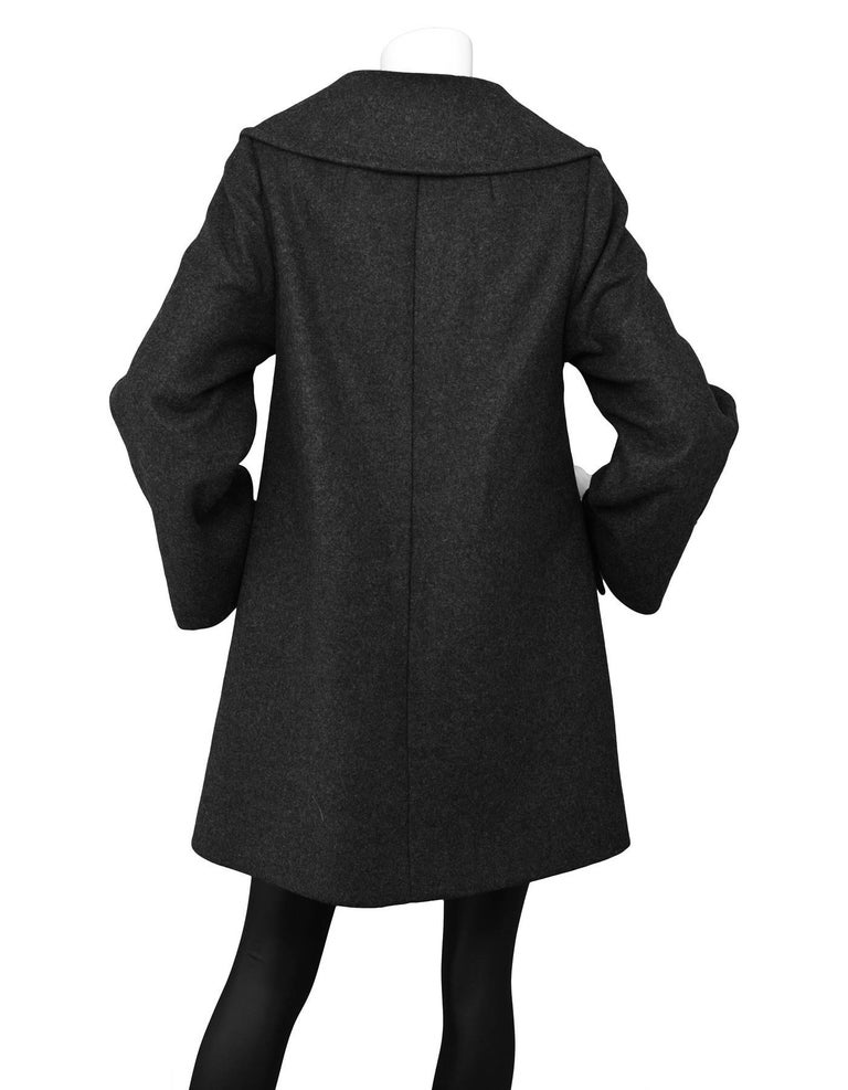 Black Dolce & Gabbana Grey Wool Swing Coat sz M For Sale