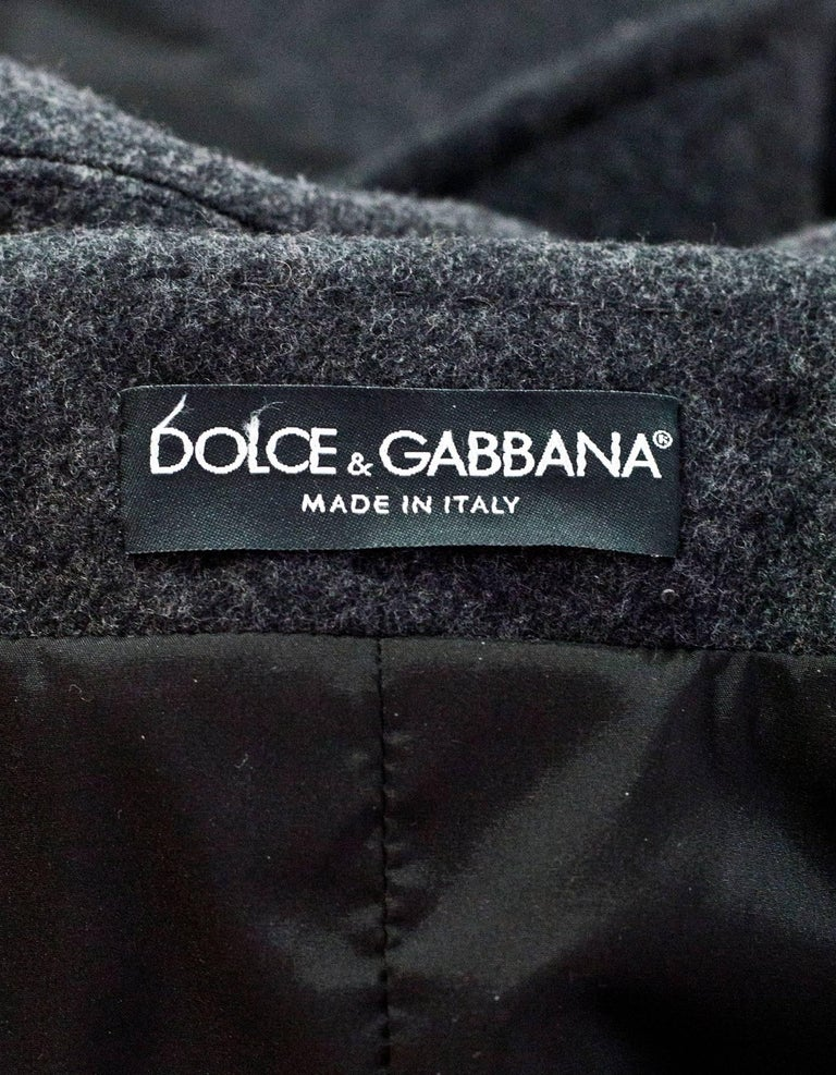 Dolce & Gabbana Grey Wool Swing Coat sz M In Excellent Condition For Sale In New York, NY