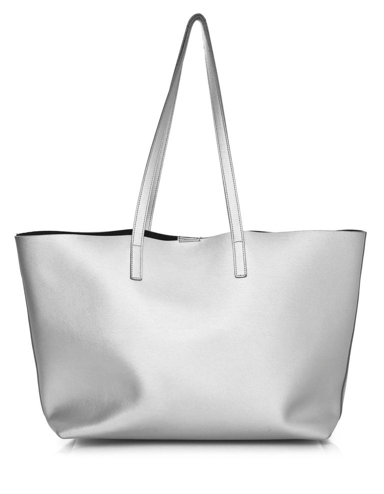 304e21ab15de0 Saint Laurent Silver Leather Large Shopping Tote Bag w  Insert In Excellent  Condition For Sale