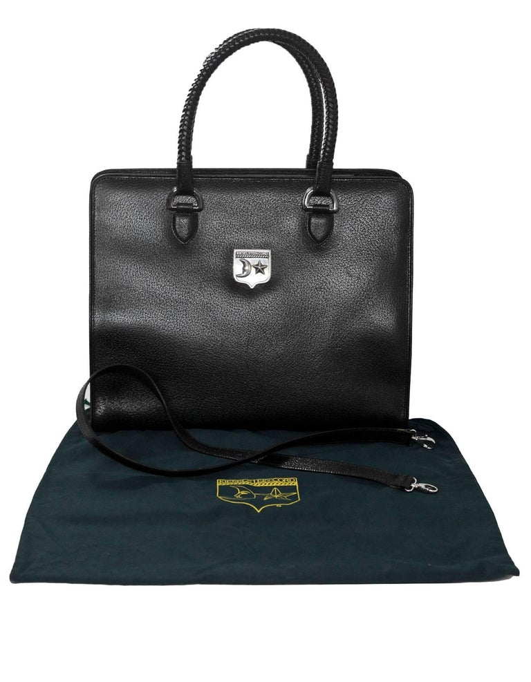Kieselstein-Cord Black Large Work Tote with Sterling Silver Hardware For Sale 5