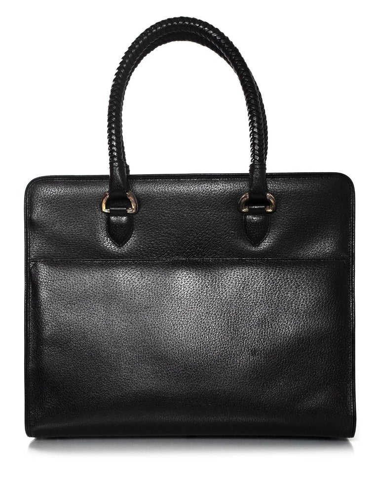 Kieselstein-Cord Black Large Work Tote with Sterling Silver Hardware In Excellent Condition For Sale In New York, NY