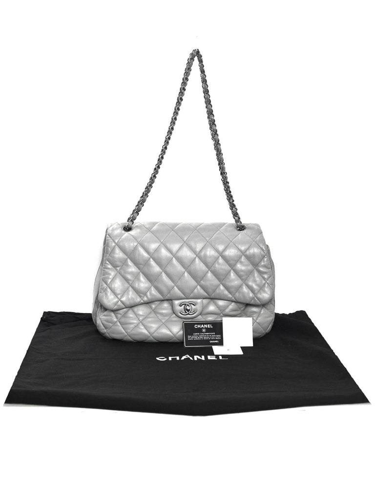 8270f324fd Gray Chanel Grey Quilted Lambskin Maxi Chanel 3 Accordion Flap Bag For Sale