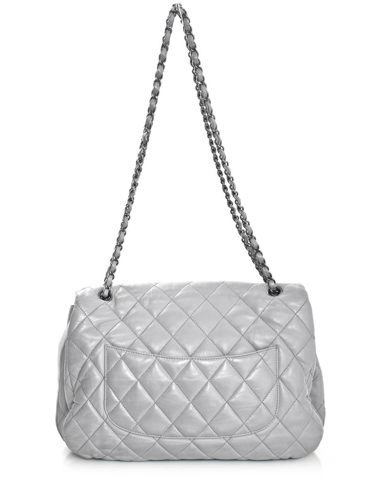eab35fc586ed Chanel Grey Quilted Lambskin Maxi Chanel 3 Accordion Flap Bag Features  adjustable shoulder straps Made In