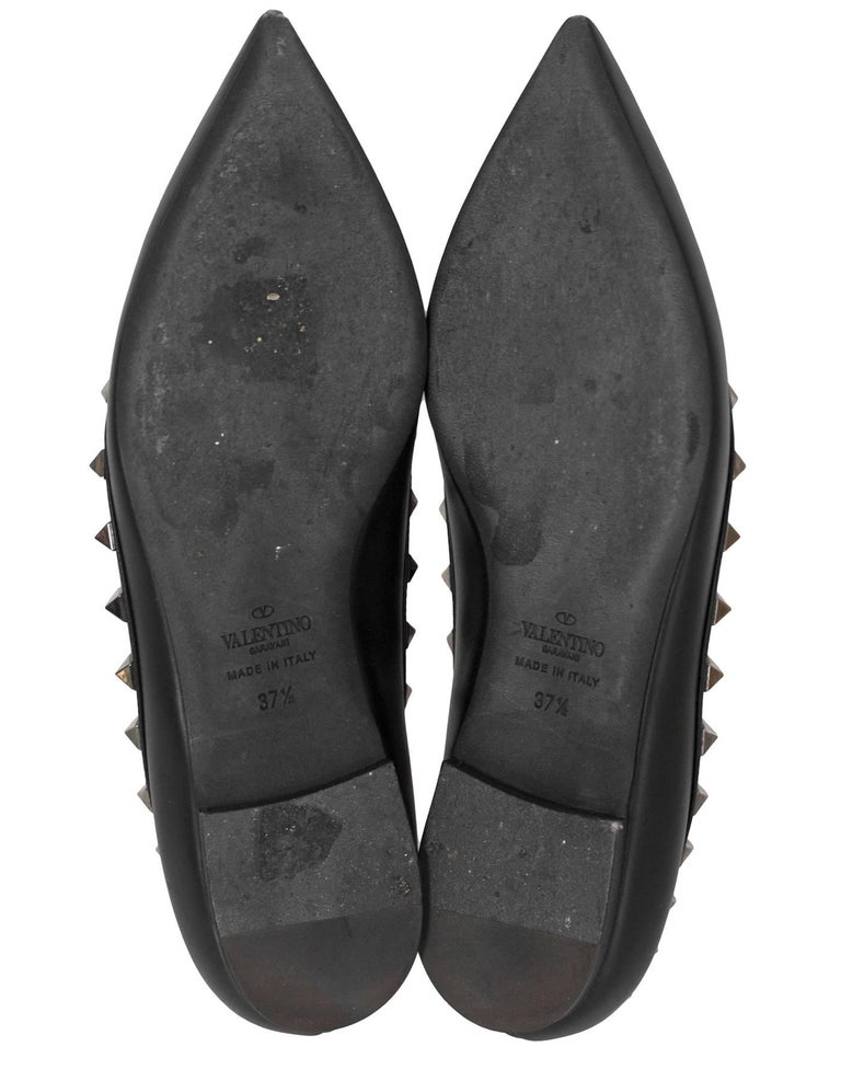 Women's Valentino Noir Rockstud Flats Sz 37.5 with Box and DB For Sale