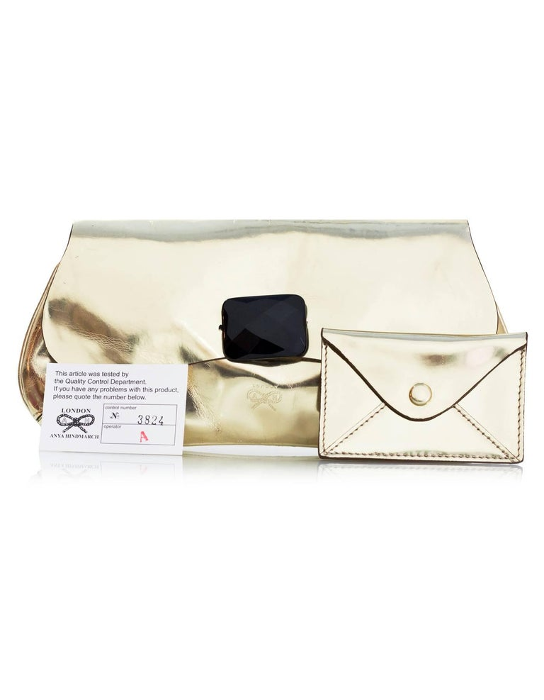 Anya Hindmarch Gold Glazed Leather Clutch Bag For Sale 6