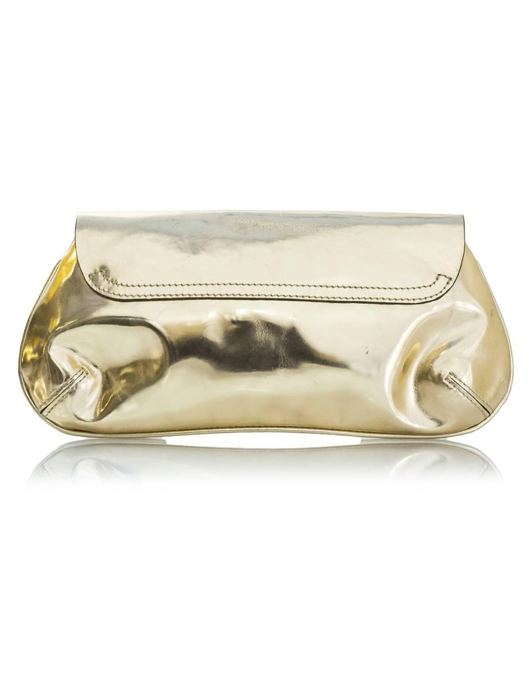 Anya Hindmarch Gold Glazed Leather Clutch Bag In Excellent Condition For Sale In New York, NY
