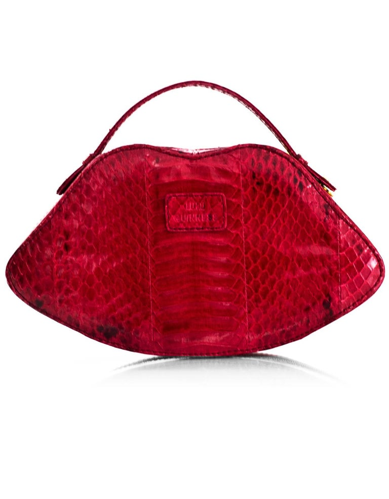 Lulu Guiness Pink Snakeskin Lips Handle Bag For Sale At