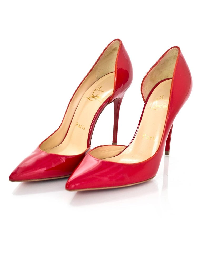 5381815df423 Christian Louboutin Red Patent Iriza d Orsay Pumps Sz 36 Made In  Italy  Color