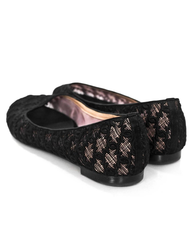 Women's Chanel Black CC Mesh Ballet Flats Sz 42 For Sale