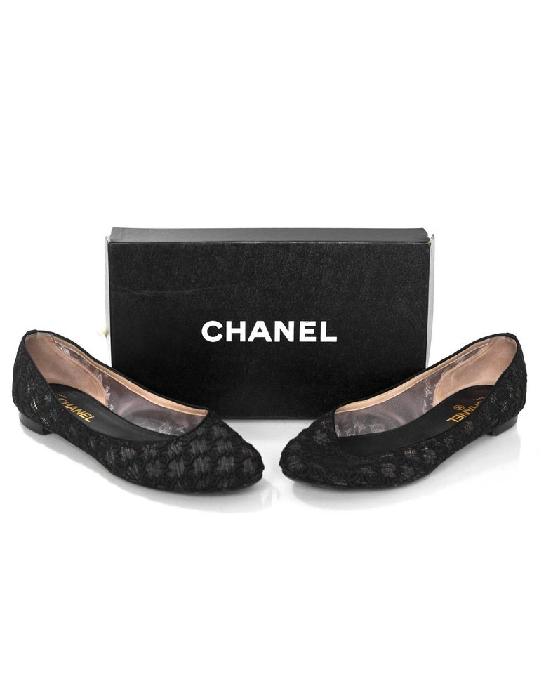 Chanel Black CC Mesh Ballet Flats Sz 42 For Sale 2