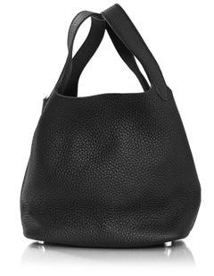 Hermes Black Clemence Leather Picotin PM Bag w. Box & DB