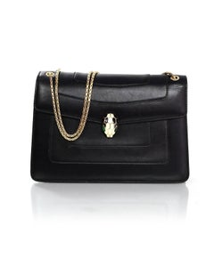 Bvlgari Black Leather Serpenti Forever Flap Bag rt. $2,800