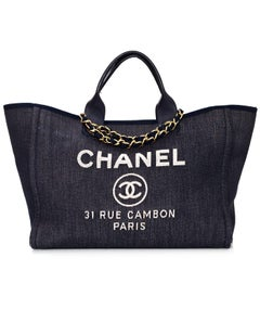Chanel Sold Out Blue Denim Deauville Satchel Bag with DB