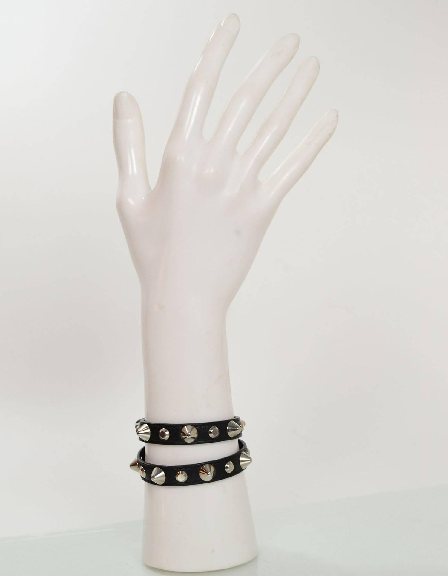 04bb8c441da Saint Laurent Black Leather Studded Choker/Bracelet For Sale at 1stdibs