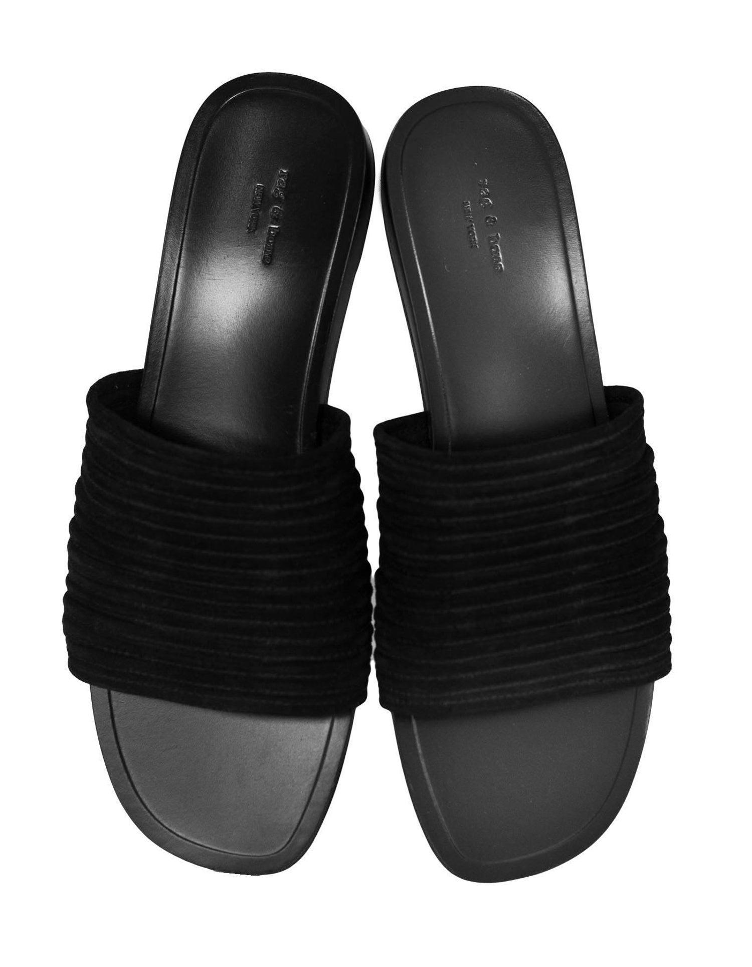 b544db2fec80b4 Rag and Bone Black Suede Cameron Slide Sandals Sz 39.5 For Sale at 1stdibs